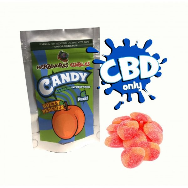 Cannabis Club BC - Buy Weed Online - CBD - Herbivores - Buzzy Peaches 150mg - Package And Product View