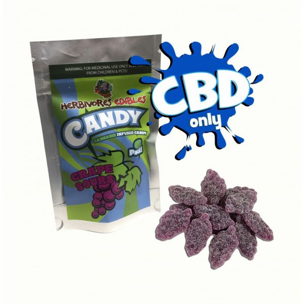 Cannabis Club BC - Buy Weed Online - CBD - Herbivores - Grape Sours 150mg - Packaging And Product View