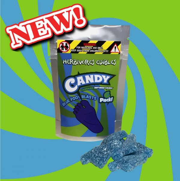 Cannabis Club BC - Buy Weed Online - Edibles - Candy - Herbivores - Blue Foot Blasts 150mg THC