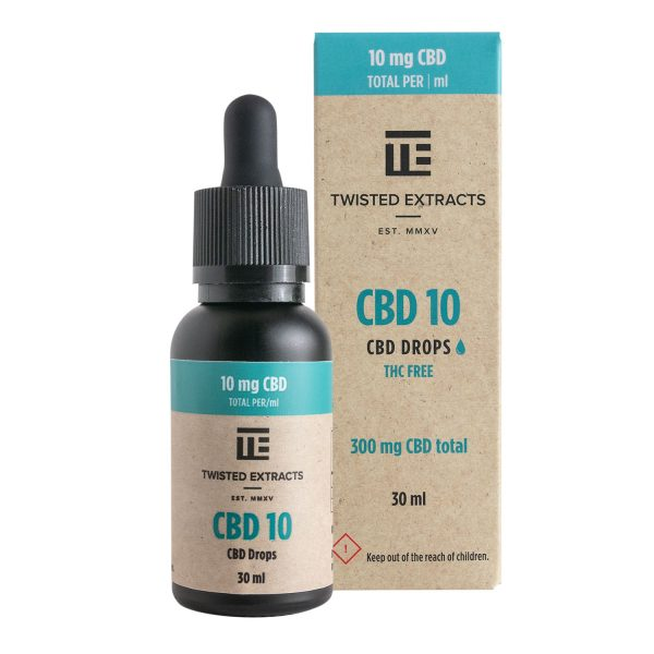 Cannabis Club BC - Buy Weed Online - CBD - Twisted Extracts - CBD10 Drops 300mg - Package And Bottle - Front View
