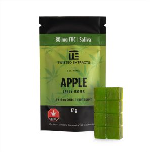 Cannabis Club BC - Buy Weed Online - Edibles - Candy - Twisted Extracts - Apple Jelly Bomb - Packaging And Product - Front View