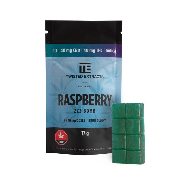 Cannabis Club BC - Buy Weed Online - Edibles - Candy - Twisted Extracts - Blue Raspberry 1to1 Zzz Bombs - Packaging And Product - Front View