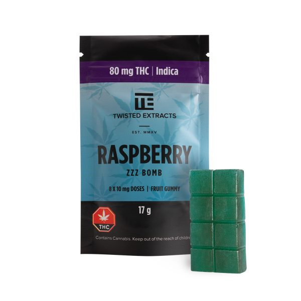 Cannabis Club BC - Buy Weed Online - Edibles - Candy - Twisted Extracts - Blue Raspberry Zzz Bomb - Packaging And Product - Front View