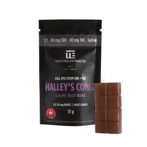 Cannabis Club BC - Buy Weed Online - Edibles - Candy - Twisted Extracts - Grape Halleys Comet 1to1 Jelly Bomb - Packaging And Product - Front View