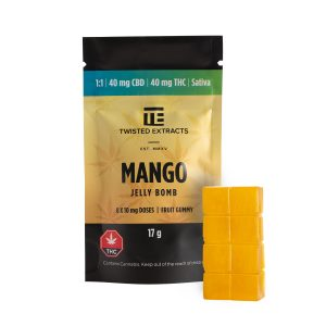 Cannabis Club BC - Buy Weed Online - Edibles - Candy - Twisted Extracts - Mango 1to1 Jelly Bomb - Packaging And Product - Front View
