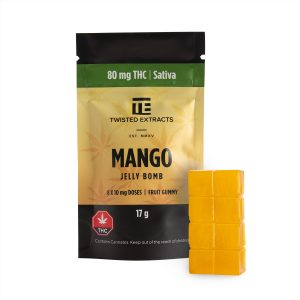 Cannabis Club BC - Buy Weed Online - Edibles - Candy - Twisted Extracts - Mango Jelly Bomb - Packaging And Product - Front View