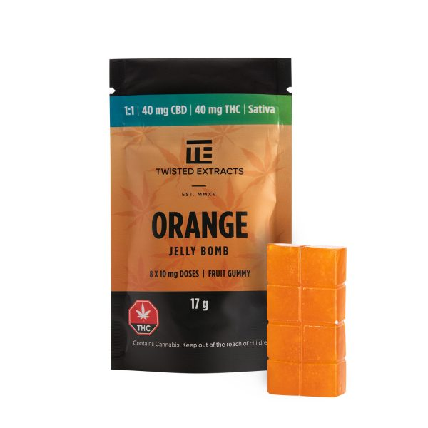 Cannabis Club BC - Buy Weed Online - Edibles - Candy - Twisted Extracts - Orange 1to1 Jelly Bomb - Packaging And Product - Front View