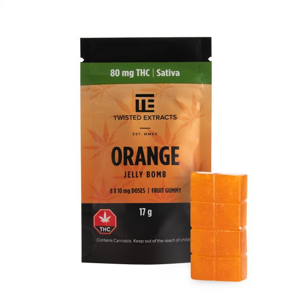 Cannabis Club BC - Buy Weed Online - Edibles - Candy - Twisted Extracts - Orange Jelly Bomb - Packaging And Product - Front View