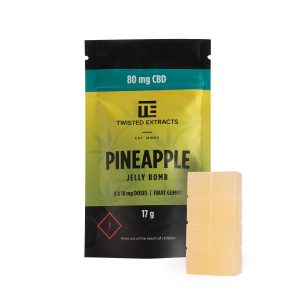 Cannabis Club BC - Buy Weed Online - Edibles - Candy - Twisted Extracts - Pineapple CBD Jelly Bomb - Packaging And Product - Front View