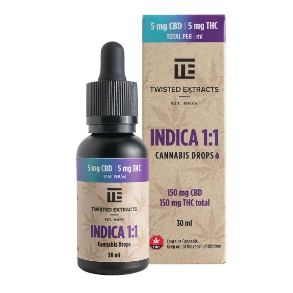 Cannabis Club BC - Buy Weed Online - Tinctures - Twisted Extracts - Indica 1to1 Drops - 150 mg THC by 150 mg - Package And Bottle - Front View