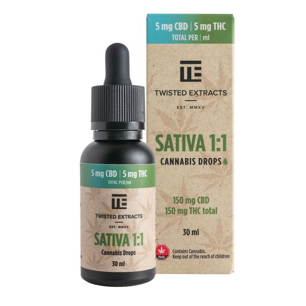 Cannabis Club BC - Buy Weed Online - Tinctures - Twisted Extracts - Sativa 1to1 Drops - 150mg THC by 150mg CBD - Package And Bottle - Front View